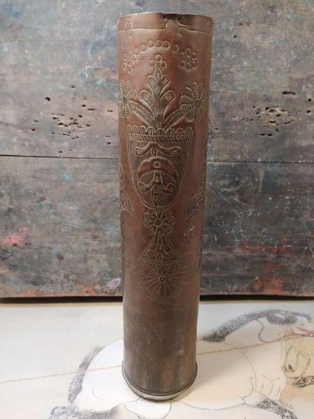 Douille Obus Gravée Campagne du Maroc 1912 90 Loches (37)