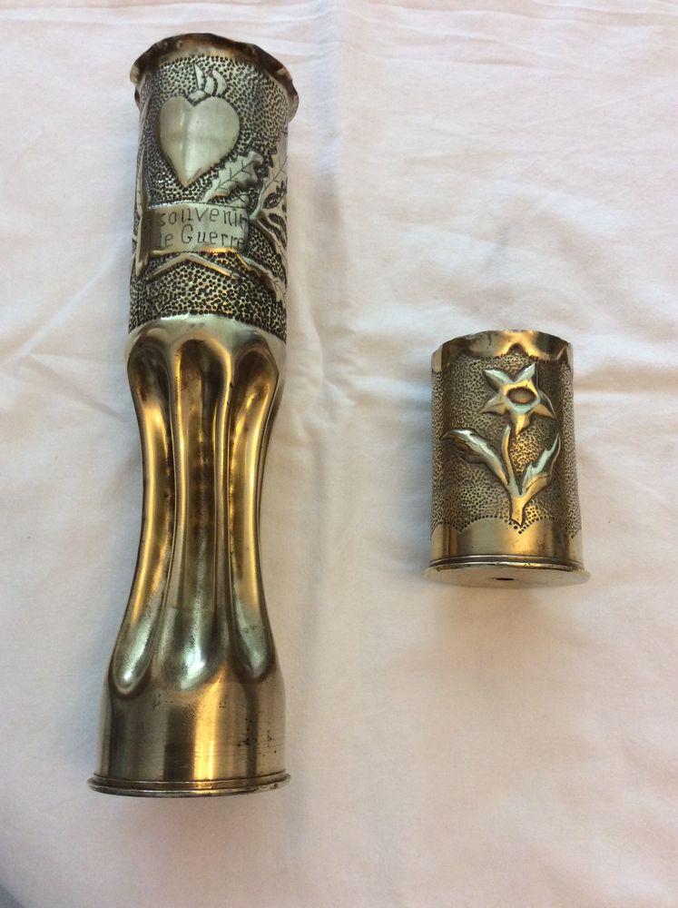 Douilles d'obus transformées en vase et pot à crayon 1914/18 25 Gif-sur-Yvette (91)