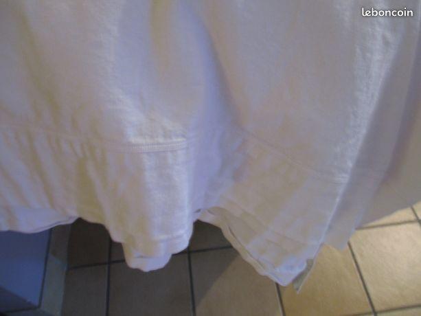 Un drap plat uni blanc coton avec bourdon 2 m 60 x 2 m 20 10 Mérignies (59)