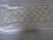 Drap plat double en coton blanc avec broderie dorée