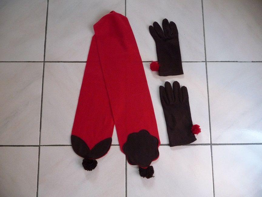 Echarpe rouge + Gants marrons - NEUFS 10 Montigny-le-Bretonneux (78)
