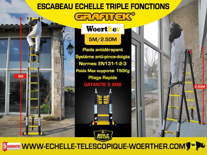 Echelle - Escabeau télescopique Woerther - 2m à 6m - Garantie 5 ans