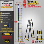 Echelle et escabeau télescopique Woerther de 2m à 6m avec garantie 5 ans 99 Les Ayvelles (08)