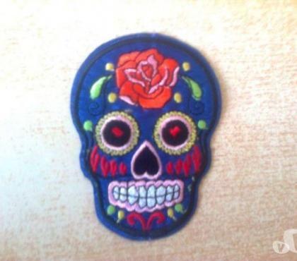 écusson tête de mort mexicaine couleur bleue 3 Carnon Plage (34)