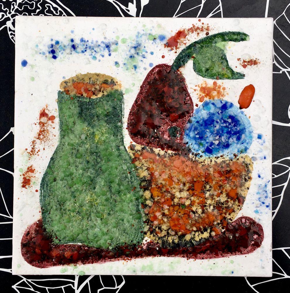 Emaux sur terre cuite, Nature morte, pièce unique,20 x 20 cm 28 L'Isle-Jourdain (32)