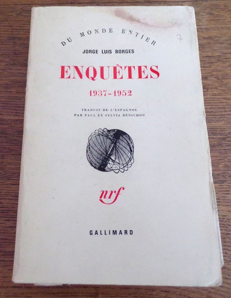 Enquêtes 1937-1952 Jorge Luis Borges Gallimard nrf 1978  7 Laval (53)