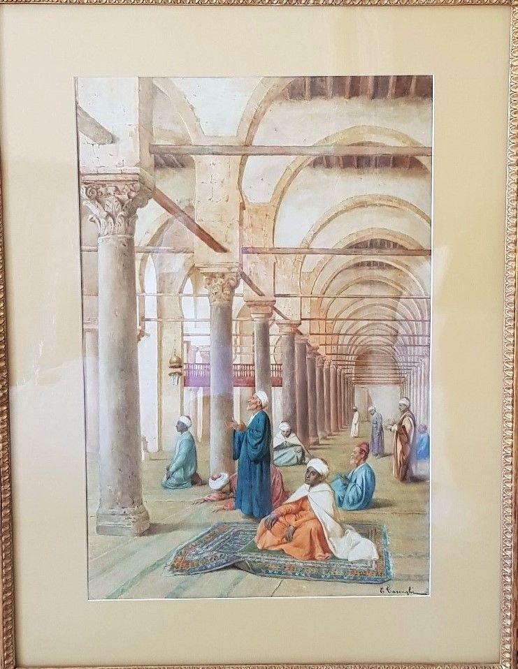 ENRICO TARENGHI (1848-1938) SCENE DE PRIERE A LA MOSQUEE 1900 Lyon 6 (69)