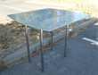 ensemble cadre+pieds INOX + plateau  ' verre opaque épais '