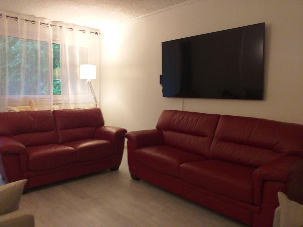 Ensemble canapé cuir 2 et 3 places rouge 600 Montpellier (34)