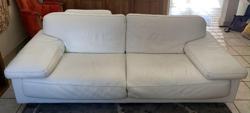 Ensemble 1 canapé et 2 fauteuils en cuir blanc Roche Bobois 1400 Beaumont (74)