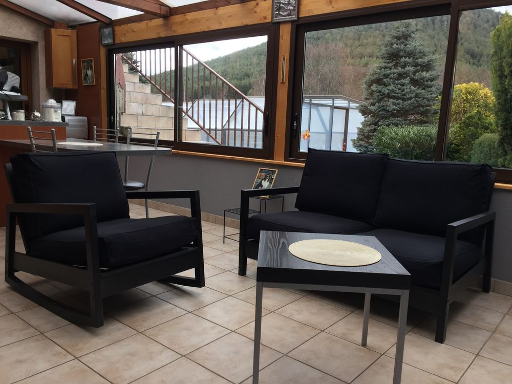 Ensemble canapé 2 places et fauteuil 1 place tissu noir 190 Taintrux (88)