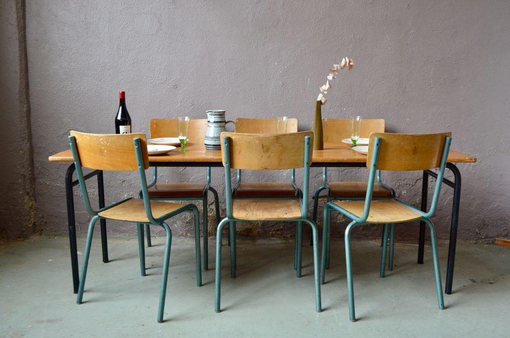 Ensemble de 6 chaises et table anciennes Indus Vintage 790 Wintzenheim (68)