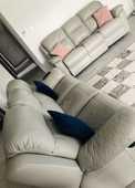 ensemble de deux canapés cuir gris clair, électrique relax 900 Saint-Denis-lès-Bourg (01)