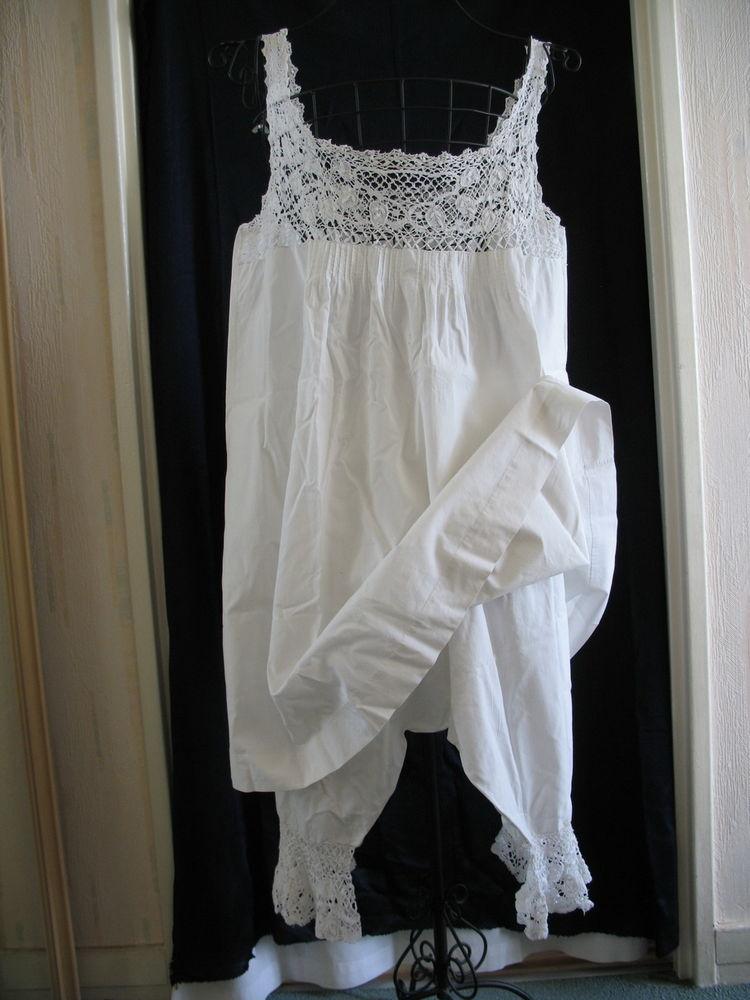 Ensemble lingerie ancienne : culotte fendue + chemise 58 Antony (92)