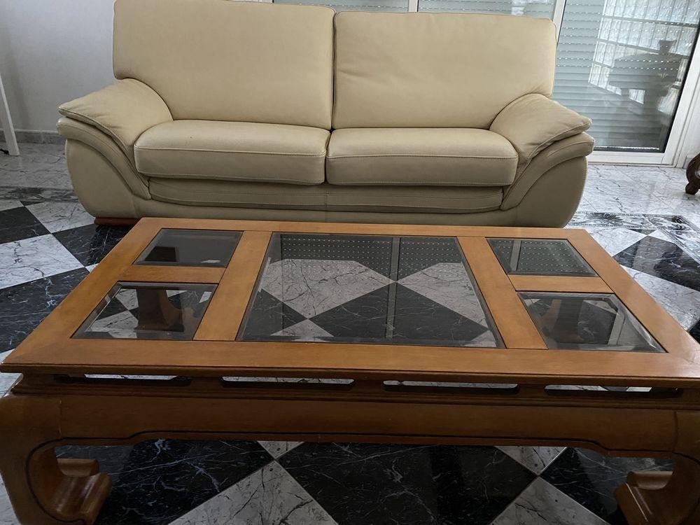 Ensemble salon cuir beige 3 , 2 et 1 place avec table salon  0 Nimes (30)