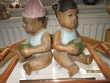 Bel Ensemble Statues Sculpté Bois Polychrome Fille Et Garçon Décoration