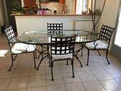 Ensemble table + chaises SIFAS en fer forgé 1490 Biot (06)