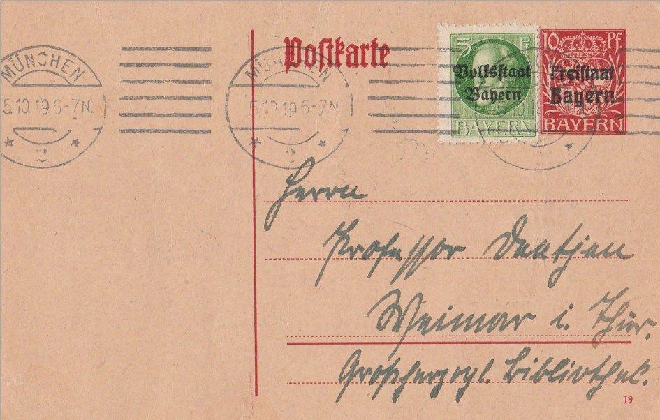Entier postal Allemagne timbre Bavière 1919  8 Berre-l'Étang (13)