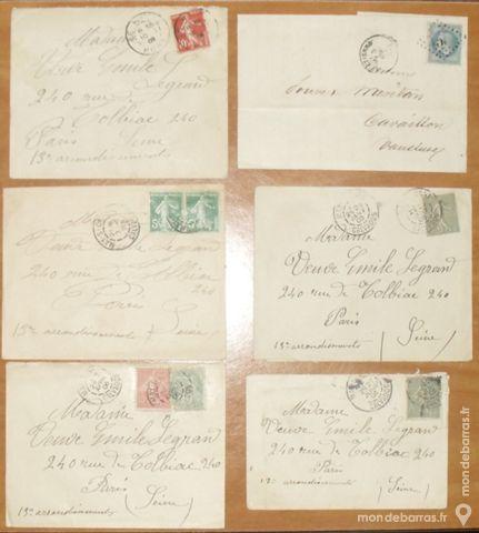 Lot de 6 enveloppes timbrées très anciennes 20 Montreuil (93)