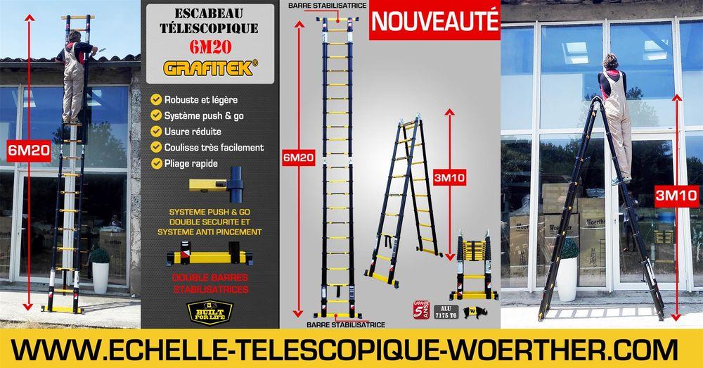 Escabeau-échelle pliante Woerther - 2m à 6m - Garantie 5 ans Bricolage