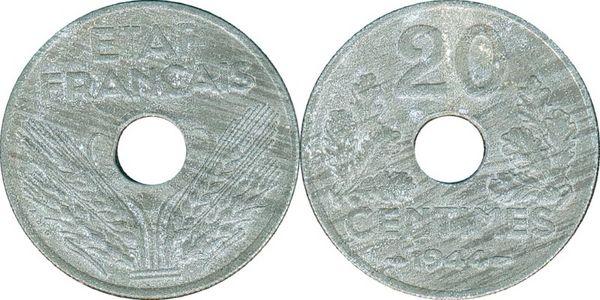 État français 20 centimes 1944 35 Couzeix (87)