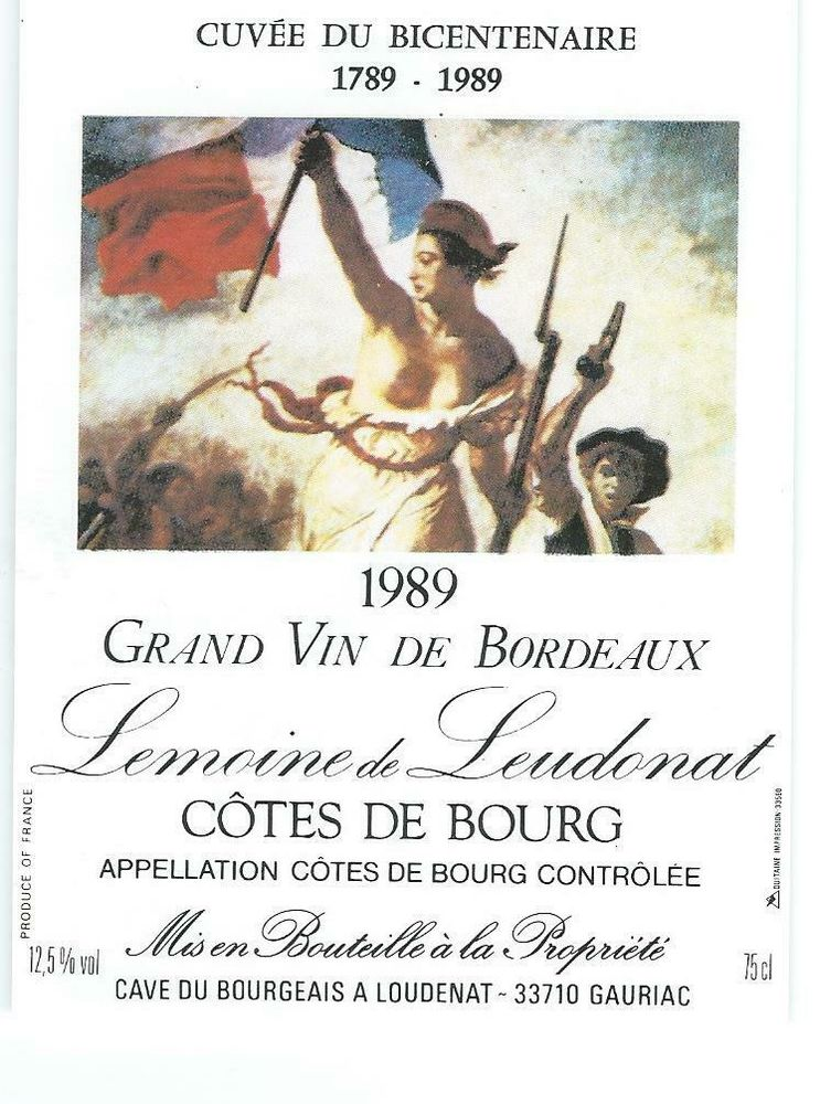 Étiquette Vin CÔTES de BOURG BORDEAUX CUVÉE du BICENTENAIRE 5 Blaye (33)