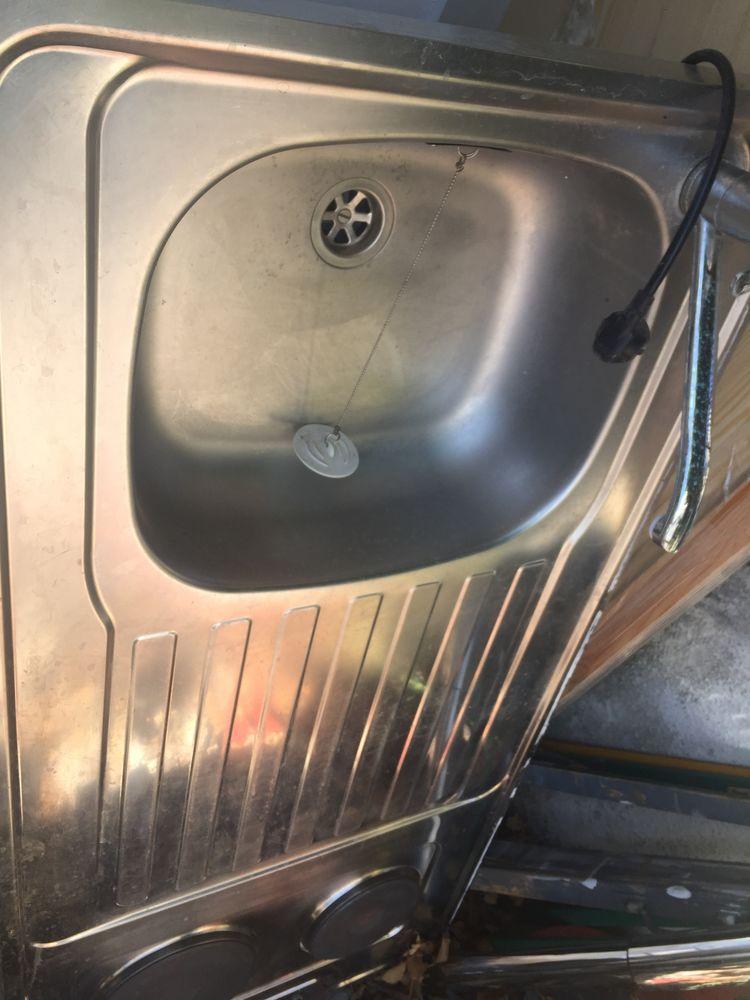 Evier double vasques inox avec plaques électriques