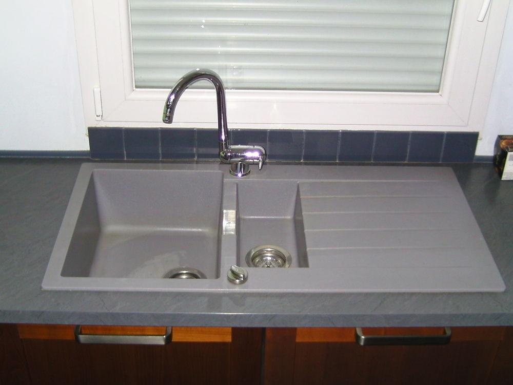 Évier Granit Gris Schock 1 Bac 1/2 + Égouttoir 100 Arques (62)