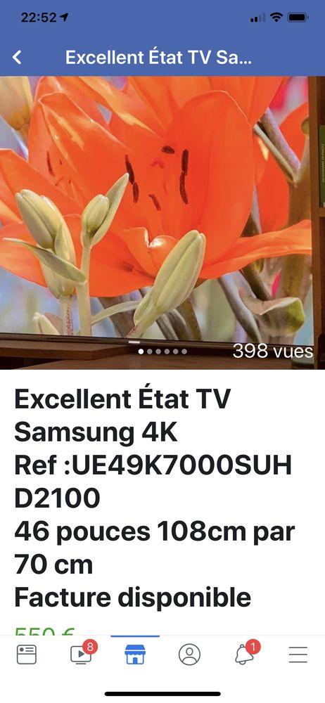 Excellent État TV Samsung 4K Ref :UE49K7000SUHD2100 46 pouces 108cm par 70 cm Facture disponible 380 Avon (77)