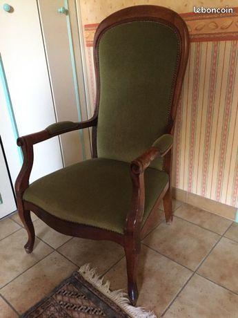 Fauteuil en bois et velours vert 30 Fontvieille (13)