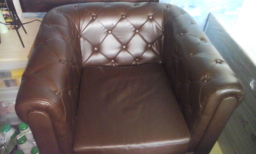 Fauteuil chesterfiel simili cuir marron 80 Le Havre (76)