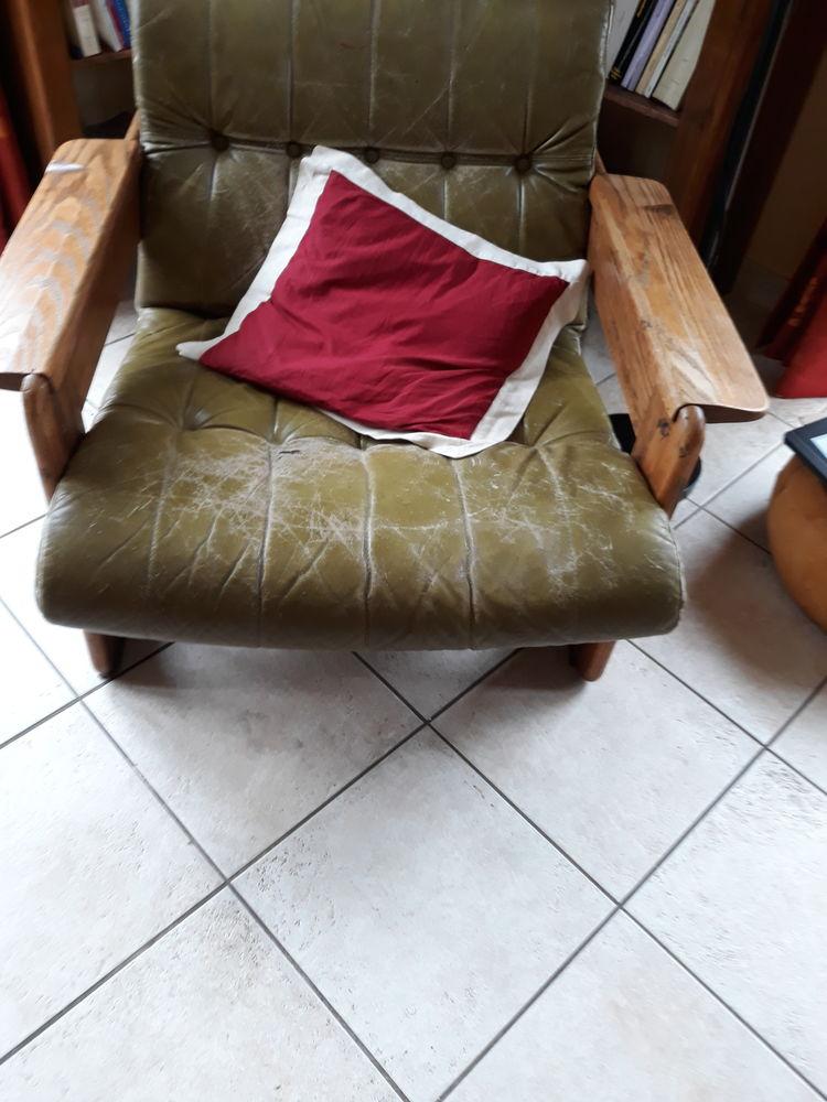 fauteuil cuir bois Meubles