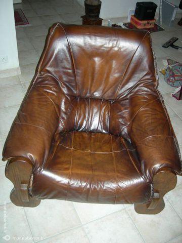 1 fauteuil cuir de couleur marron d'origine Croza 47 Rennes (35)