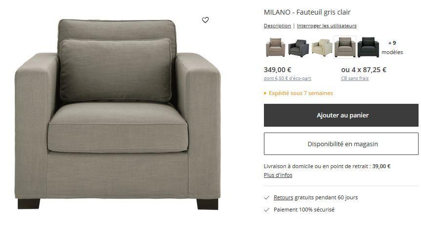 Fauteuil Maison du Monde  Milano  gris clair neuf 250 Gradignan (33)