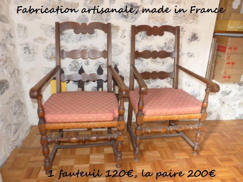2 fauteuils bois tourné artisan ardéchois + galettes par tap 150 Albertville (73)