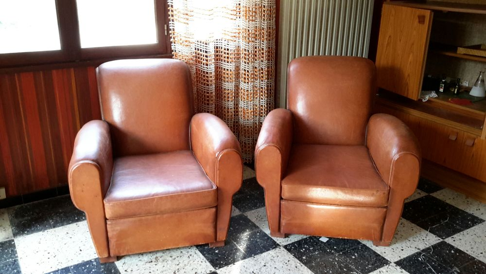 Fauteuils club et banquette cuir vintage 790 Le Pradet (83)