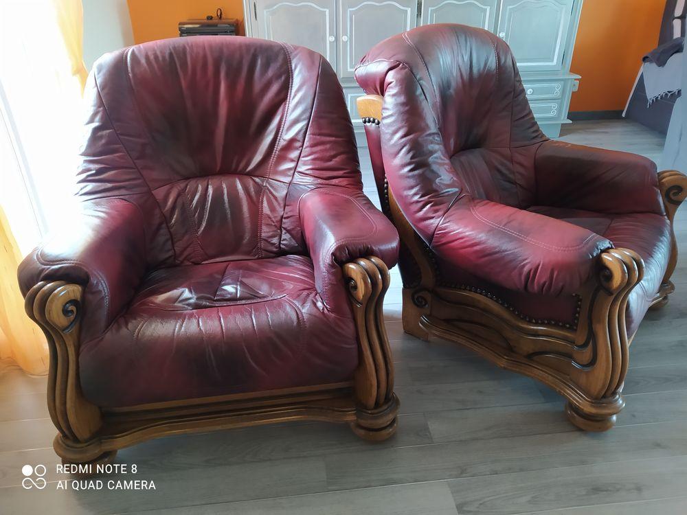 2 fauteuils cuir et bois massif 50 La Bourdinière-Saint-Loup (28)