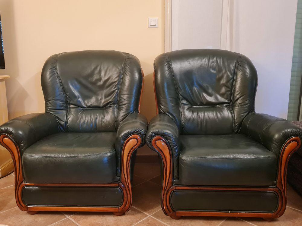 fauteuils cuir et bois Meubles