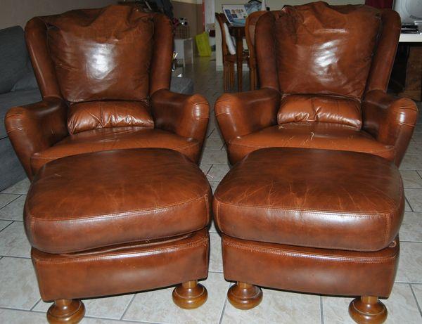 2 fauteuils cuirs et leur repose-pieds 300 Hazebrouck (59)