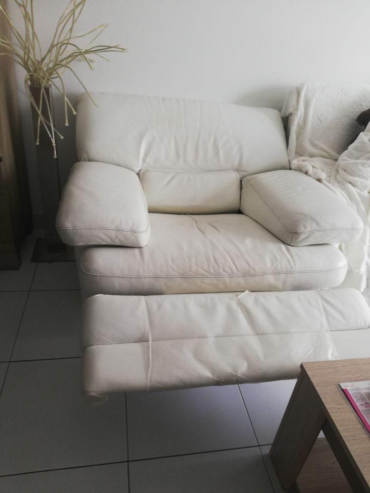 Bjr , 2 fauteuils relax électrique en cuir beige 350 Loos (59)
