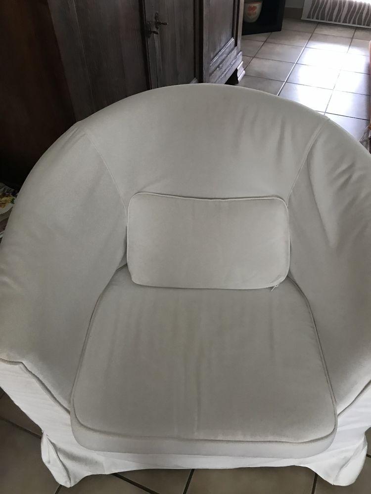2 Fauteuils tissu blanc ecru 110 Libourne (33)