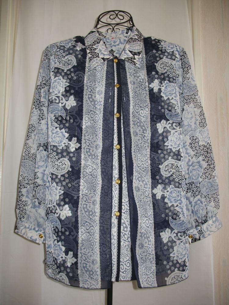 Fêtes : Chemisier en tissu foulard fil doré-T40/42 Vêtements