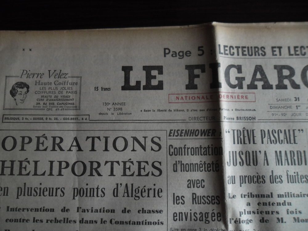 LE FIGARO - 31 Mars & 1er Avril 1956 - Idéal Anniversaire. 10 Seclin (59)