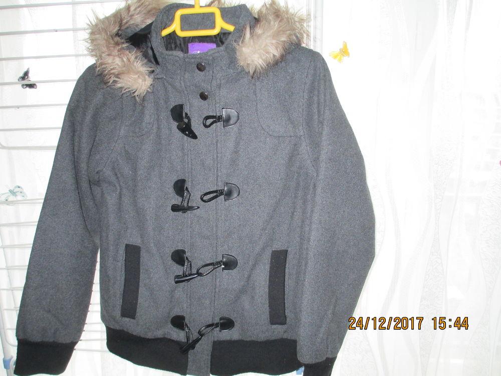 fille blouson hiver gris capuche GEMO 10 Créteil (94)