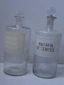 2 Flacons à pharmacie vintage en verre avec bouchon émeri  0 Sorbiers (42)