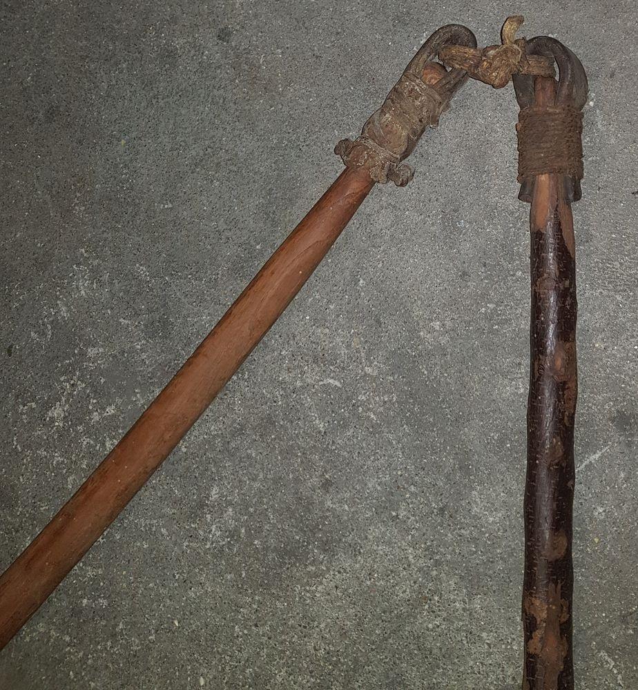 Fléau fléaux bois et cuir vintage ancien Décoration