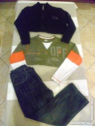 Lot 8 ans : Gilet + jean + tee-shirt ML en KDO TBE 12 Issou (78)