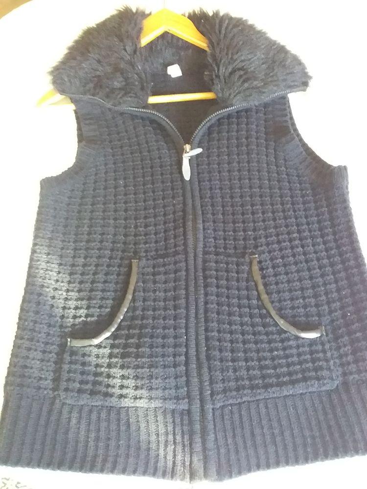 Gilet en laine col fourrure fermeture éclair pour femme Vêtements