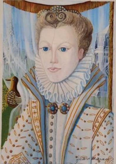 Gouache originale de Jean MARAIS -  La Princesse  1000 Courbevoie (92)