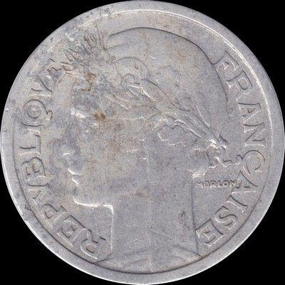 Gouvernement provisoire, 2 francs 1945B 8 Couzeix (87)